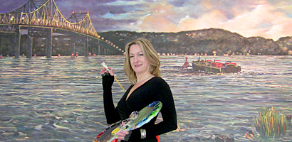 Cathi Locati, artist, painting at Hudson Harbor, Tarrytown