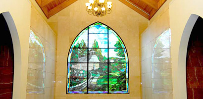 Sleepy Hollow Cemetery stained glass window dedicated