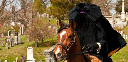 Old Dutch Church, Sleepy Hollow, Horseman in cemetery