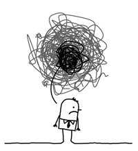Frustrated cartoon man
