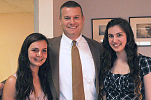 Madeline McGovern, teacher Anthony Baxter & Laura Epstein, 2011 Warner Library Hall of Fame Essay Contest Winners