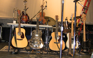 The instruments of David Bromberg, a former Tarrytown resident, at the Music Hall.