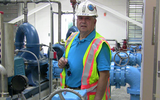 Briarcliff Manor's Village Manager Philip Zegarelli at Briarcliff's new pump station in Tarrytown.