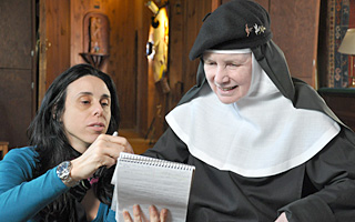 GOD IS THE BIGGER ELVIS: Mother Dolores Hart (R) with director, Rebecca Cammisa (L) Photo Credit: Producer, Julie Anderson/HBO