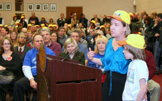 Child care supporter Patricia Morgan with her son James at last night's public hearing on the 2012 Budget (Photo credit: Westchester County Board of Legislators / Aviva Meyer)