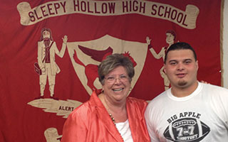 Sleepy Hollow High School Principal Carol Conklin-Spillane and senior  Frank Curanaj.