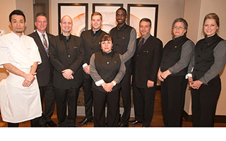 L – R: Chef Yoshi Oyama, Gilbert Baeriswil, Christopher Walk - Front of the House  Manager, Eddie Grant - Equus Captain, Celia Cabrera, Rolard Renaud,  Joseph Livornese, F&B Manager, Fautine Elkari and Amanda Flood.