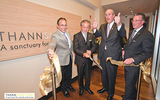 L – R:  Drew Fixell –Tarrytown Mayor, Jiro Sato – President Sankara Hospitality,  Mr. Kevin Plunkett – Deputy County Executive and Gilbert Baeriswil – General Manager  Castle Hotel & Spa.