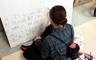 An in-progress student artwork by Rebecca Mesonjnik.
