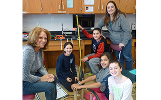 Briarcliff Manor students show off their roller coaster.