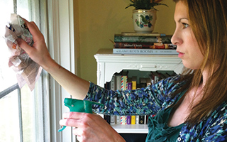 Cleaning windows and mirrors with newspaper,  instead of paper towels, leaves your glass surfaces shining and lint free.