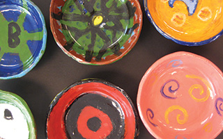 Some of the ceramic bowls  created by the students.