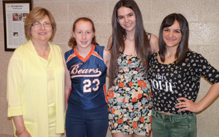 Teacher Marie Dzielak, students Kylie Elwood, Rebecca Strauss, Olivia Banc (missing from photo is DI team member Matthew Ellis).