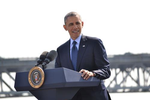 President Barack Obama speech in front of New NY Bridge
