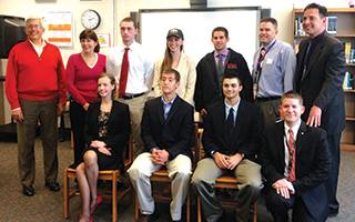 (Back row, from left) BHS track and field head coach Sean Ryan, BHS Principal Debora French, Kevin Wolff, Sophie Feuer, John Cabeca, Assistant Principal Dan Murphy, Athletic Director Chris Drosopoulos (front row, from left) Abigail Kuhn, Ryan Rosen, Chris Marinaccio, and guidance counselor Nathan Heltzel.