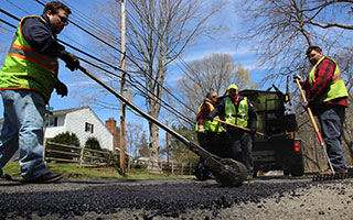 Westchester County Department of Public Works fixes potholes in Rye Brook this spring.