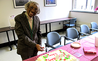 Edna Coggins of Ossining was treated to a birthday party hosted by the Volunteer Department at Phelps Memorial Hospital Center.  Mrs. Coggins, who  has been a volunteer at Phelps for 22 years, turned 99 years young.