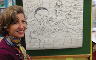 Author/illustrator Lizzy Rockwell at Morse school.