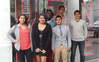 Sleepy Hollow High School students Thalia Criollo,  Ashley Pesantez-Quesada, Cristian Yuqui, Jeffrey Asante, Daniel Elia, and Joseph Galasso at the reception  at the Museum of the Moving Image.