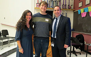 Briarcliff High school alumnus Sam Chalsen is flanked by English Department Coordinator Jamie Mandel and Superintendent of Schools James Kaishian.