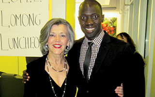 The author with Lopez Lomong.