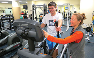 The new arc trainer in Briarcliff High School's fitness center is offering students a new type of workout.