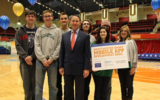 "County Executive Robert P. Astorino pictured with one of the fifty teams registered for the Westchester Smart Mobile App Development Bowl named ""A Hot Cup of Java"" from Pleasantville High School."