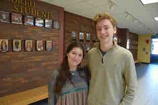 Briarcliff High School students Laura Charney and Christopher Fischer.