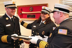 Chief Kelly Murphy (center) at swearing-in ceremony.