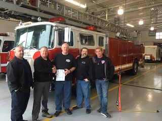 Left to right SHFD Captain Paul Capello, Trustee John Leavy, Milford Township Chief Keith Butler, Milford Township FM Jim Young, SHFD Chief John Korzelius