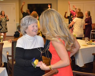 Kay Kiggins is a Charter Club Resident of Brightview Tarrytown's secured memory care neighborhood, Wellspring Village.  She enjoyed all the festivities of the night celebrating with friends, family and her new neighbors.