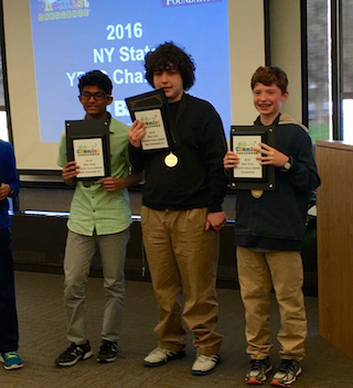 Irvington Middle School students Rishit Gupta, Zachary Rosman and Henry Demarest were named top chemists in the State. Seventh-grader Demarest won first place, while eighth-graders Gupta and Rosman were named runner-up and second runner-up, respectively.