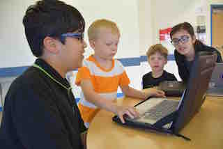 Fifth-grade students at Todd Elementary school in Briarcliff Manor used their coding skills to create digital stories for kindergarten students to interact and play with as part of the school's initiative to involve students in coding at an early age.