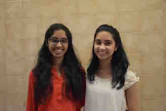 (from left) Twin sisters Sweta and Swati Narayan have been named Irvington High School's valedictorian and salutatorian, respectively. Photo courtesy of the Irvington Union Free School District