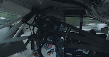 Inside the cockpit of pro driver Lawson Aschenbach's Camaro Z/28.R during qualification at Lime Rock Park