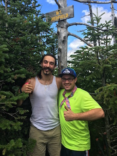 Longtime friends Lucio Battista and Peter Camporese on top of Mount Redfield.