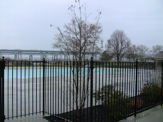 Waiting for warm weather at the outdoor pool.