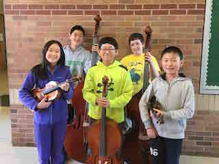 (from left) All-County Junior Orchestra students Reinesse Wong, Ryan Liu, Seungchan Yun, Leo McLaughlin and Andrew Zhou.