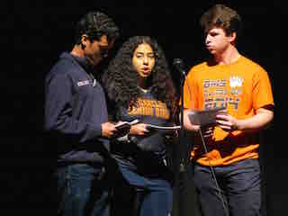 (from left): Briarcliff High School students Derian Dominguez, Melissa Wells and Sam Lanoff discussed the Black Lives Matter movement during the school's Dr. Martin Luther King Jr. assembly.