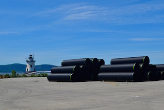 A delivery of stormwater pipe at Edge-On-Hudson. Infrastructure is nearing completion on Phase 1.