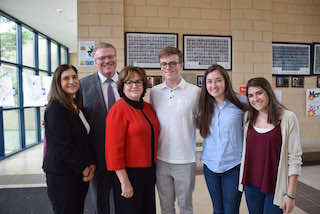 (from left) Assistant Superintendent for Instruction and Human Resources, Dr. Raina Kor; Superintendent of Schools, Dr. Kristopher Harrison; New York State Commissioner of Education, MaryEllen Elia; and Irvington High School students Jerry Gregory, Melanie Geller and Cameron Soravilla.
