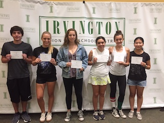 (from left): Irvington High School seniors William Pascal, Susanna Odabashian, Dina Pekelis, Rachel Sklar, Hannah Stack and Kristen Lee were honored as Commended Students by the National Merit Scholarship Corporation.