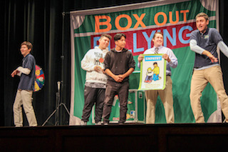 Sleepy Hollow High School students learn how to Box Out Bullying during an interactive assembly.