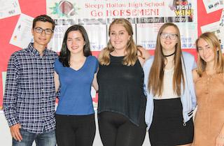 Sleepy Hollow National Merit students from left: Brandan Gianni, Maeve Brennan, Olivia Rudder, Hallie Swanson, Samantha Allen