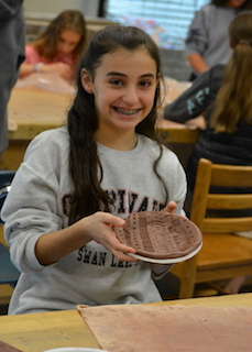 BMS Seventh grader Charlotte Landau created a plate using a simple mold during Day of Clay.