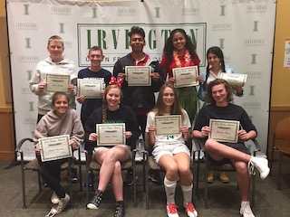 Some of the Irvington High School students receiving awards for humor and joy  pictured here: (Back, L-R) Jacob Egloff, Josh Blass, Brandon Avelino, Grace Thybulle and Sophia Regal. (Front, L-R): Abigail Gonzalez, Skylar Sloane, Jessica Green and Matthew Myers.