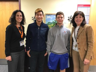 BHS Counseling Coordinator Meredith Safer; HOBY 2017 Alternate Christopher Li; Jason Heitzler; and BHS Principal Debra French.