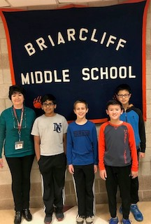 L-R: BMS math teacher and Mathletes advisor Svetlana Ryzhik, Gautam Gupta, Lucas Martin, Gordon Beckler, and Kevin Cao. Not pictured Marlena Kuhn.