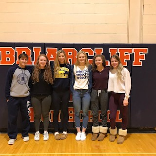 Briarcliff's winning athletes: Alex Leahy, soccer; Kaleigh Gowan, volleyball; Carly Schwab, swimming; Claire Goldstein, swimming; Yasmin Hill, diving; and Anna Keatron, swimming.