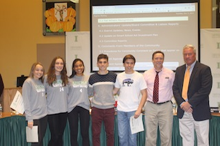 L-R: Irvington High School students Miranda Farman, Jess Greene, Zoe Maxwell, Luke Caromsino and Eric Pastarnack, cross-country coach Chris Barry and Athletic Director Arthur McCormack.